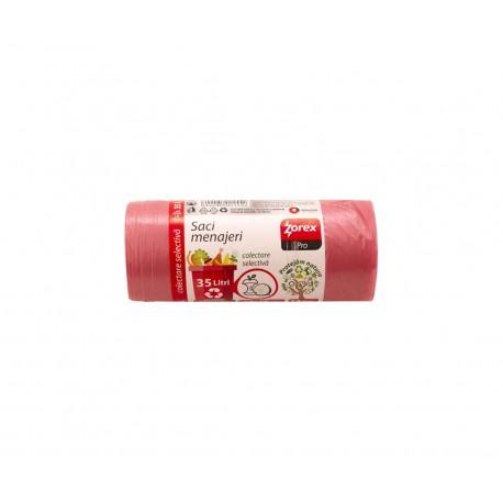 Saci rosii pentru gunoi menajer, 35 L